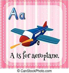 Aeroplane - Flashcard letter A is for aeroplane