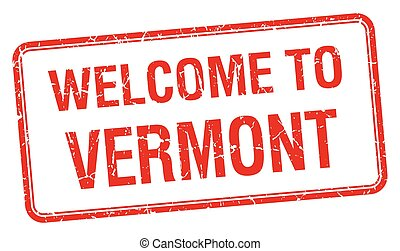 welcome to Vermont red grunge square stamp