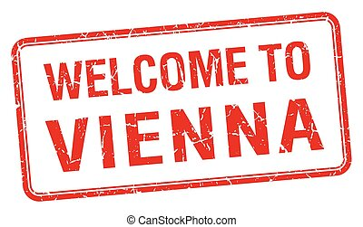 welcome to Vienna red grunge square stamp