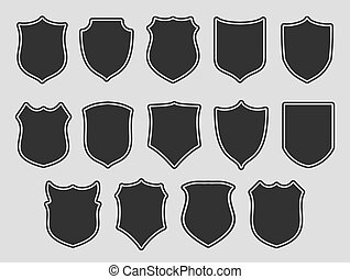 Set of shields over grey background