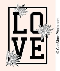 Trendy t-shirt design with word love