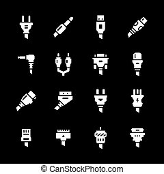 Set icons of plugs and connectors isolated on black