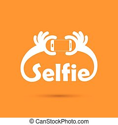 Taking selfie portrait photo on smart phone concept icon....
