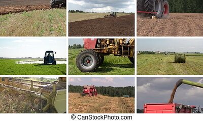 "tractor field collage - ""Heavy agriculture equipment..."