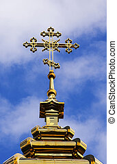 orthodox cross - the gilded orthodox cross which is settling...