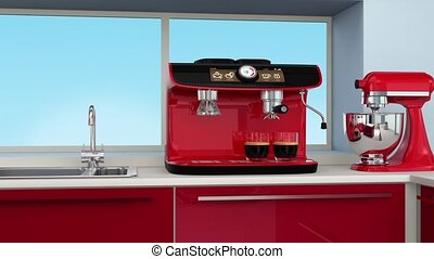 Espresso machine in modern kitchen interior.