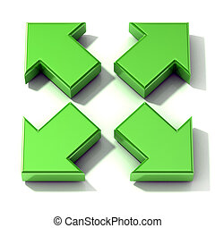 Green 3D arrows expanding. Top view, isolated on white...