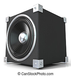 Black audio speaker 3D render illustration isolated on white...