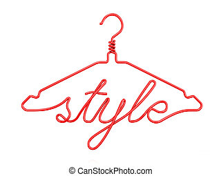 Red wire clothes hangers with message - STYLE. 3D render...