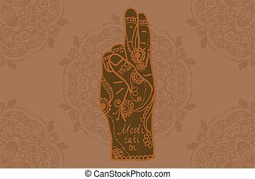 Element yoga mudra hands with mehndi patterns Vector...