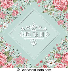 Elegant frame with roses. Floral background