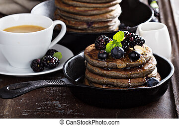 Blueberry pancakes with buckwheat flour for breakfast