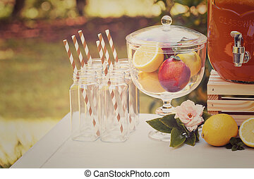 Drink station for an outdoor party - Decorative outdoor...