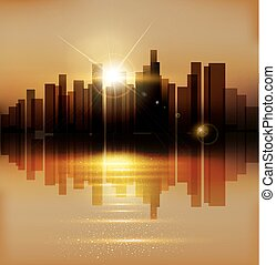 vector background with urban landscape (buildings and sunset)