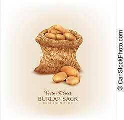 Vector a burlap sack with potatoes