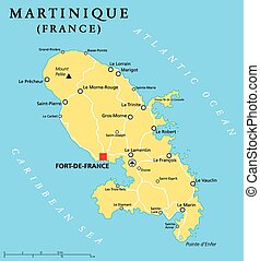 Martinique Political Map - Martinique political map with...