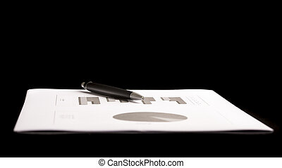 Business Document with Pen Isolated on Black - Conceptual...