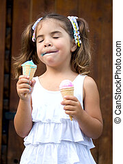 Girl with two ice cream - Girl with two portion of ice cream...