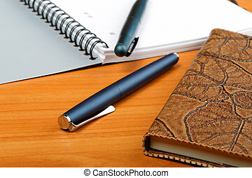 The opened writing-book in a leather cover and  pen