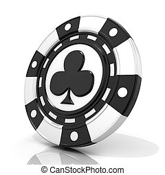 Black gambling chip with club sign on it 3D render isolated...