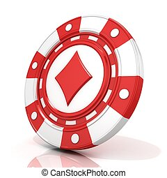 Red gambling chip sign with diamond on it 3D render isolated...