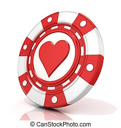 Red gambling chip with heart sign on it 3D render isolated...