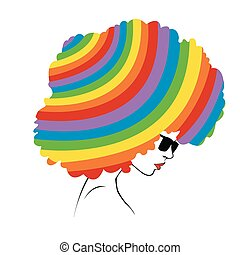 abstract rainbow hair - Illustrati - Profile of a girl with...