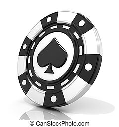 Black gambling chip with spade sign on it 3D render isolated...