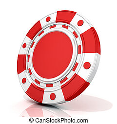Red gambling chip 3D render isolated on white