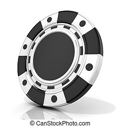Black gambling chip 3D render isolated on white