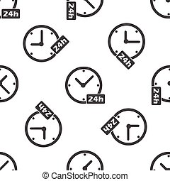 24h workhours pattern - Image of clock and text 24h,...