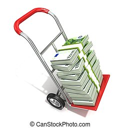 Hand truck with stacks of euros