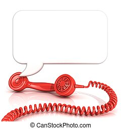 Red old fashion telephone handsets and speech bubble...