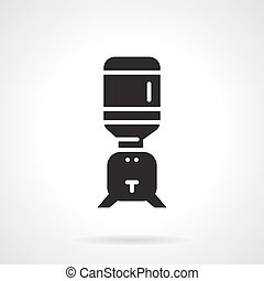 Black water cooler flat vector icon - Flat design vector...
