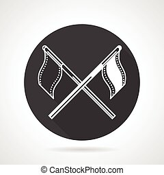 Team flags black round vector icon - Black round flat design...