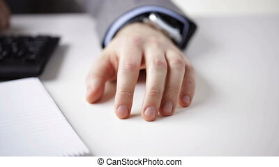 close up of businessman hand banging fingers - people,...