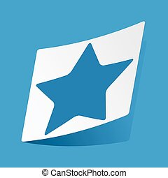 Star sticker - Sticker with star icon, isolated on blue