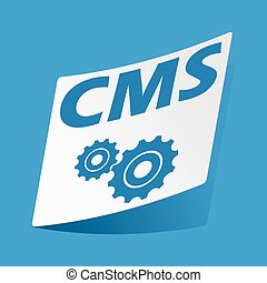 CMS settings sticker - Sticker with text CMS and two gears,...