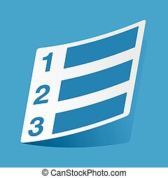 Numbered list sticker - Sticker with numbered list icon,...