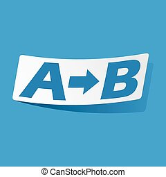 A to B sticker - Sticker with A to B icon, isolated on blue