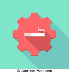 Long shadow gear icon with a cigarette
