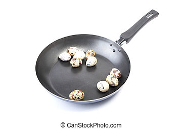 quail eggs in a frying pan on a white background