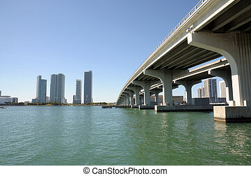 Bridge over the Biscayne Bay, Miami Downtown, Florida USA