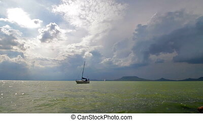 Impressive storm clouds over lake Balaton,Hungary
