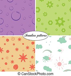 set of colorful seamless  patterns of  children for packaging