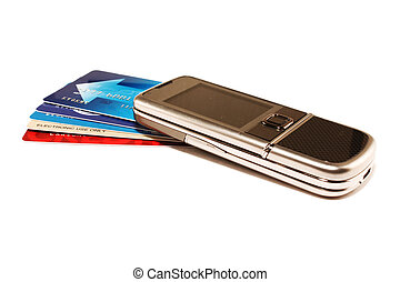 Phone and credit cards - Phone and some credit cards on a...