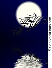 Moonlight Night - Branch of a bush against the full moon and...