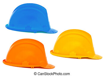 Three helmets a over white background , blue, orange, yellow