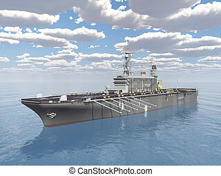 Aircraft carrier - Computer generated 3D illustration with...