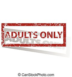 ADULTS ONLY outlined stamp - Outlined red stamp with words...